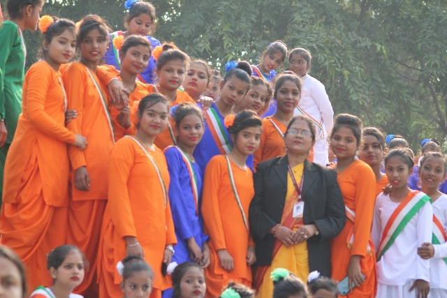 Students of GGPS, Chas performing in Bokaro Stadium on the eve of Republic Day 2020